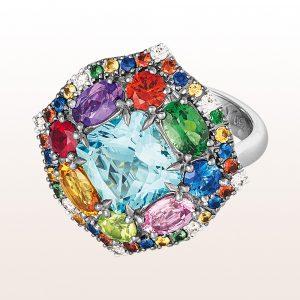 Ring mit Aquamarin 2,90ct, Ametyhst 0,31ct, Peridot 0,27ct, Rubin 0,24ct, bunten Saphiren 2,14ct, Tsavorit 0,57ct und Brillanten 0,11ct in 18kt Weißgold