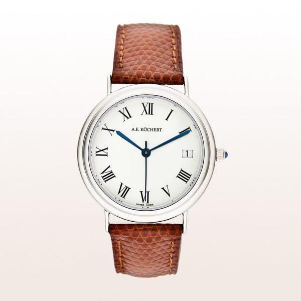 Köchert Uhr aus 18kt Weißgold mit weißem Ziffernblatt, blauen Zeigern, Saphirkrone und braunem Uhrband