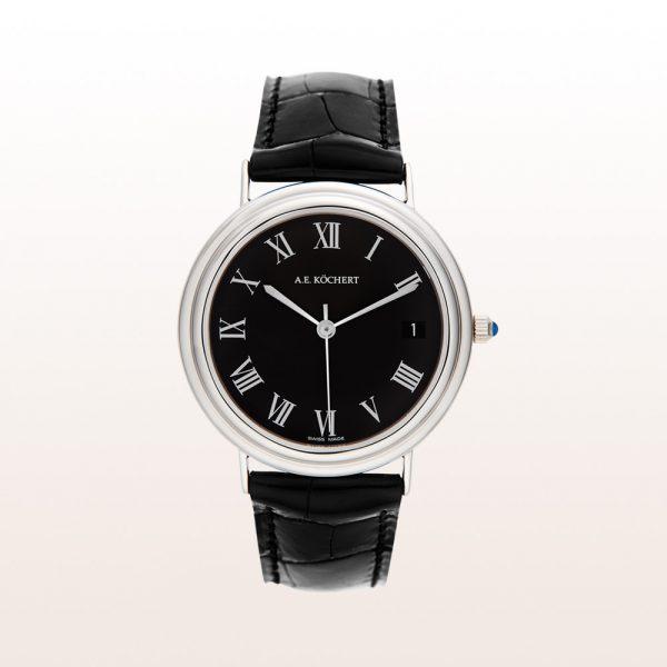Köchert Uhr aus 18kt Weißgold mit schwarzem Ziffernblatt, weißen Zeigern, Saphirkrone und schwarzem Alligator-Uhrband