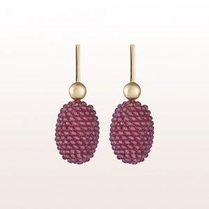 Ohrgehänge mit rosa Topas in 18kt Gelbgold