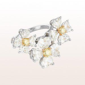 Ring mit gelben und weiße Diamanten 7,23ct in 18kt Weißgold
