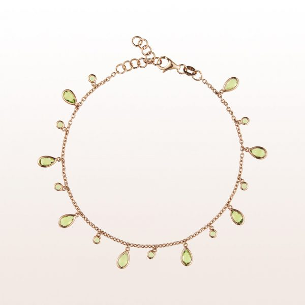 Armband mit Peridot in 18t Roségold