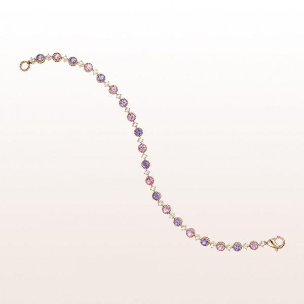 Armband mit rosa und violetten Saphiren und Brillanten in 18kt Roségold