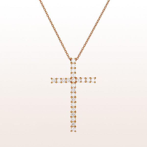 Collier mit Kreuzanhänger mit Brillanten 1,35ct in 18kt Roségold