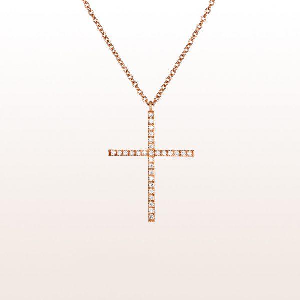 Collier mit Kreuzanhänger mit Brillanten 0,32ct in 18kt Roségold