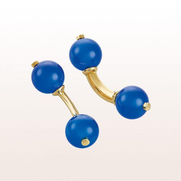 Kugelmanschettenknöpfe mit Blauachaten in 18kt Gelbgold