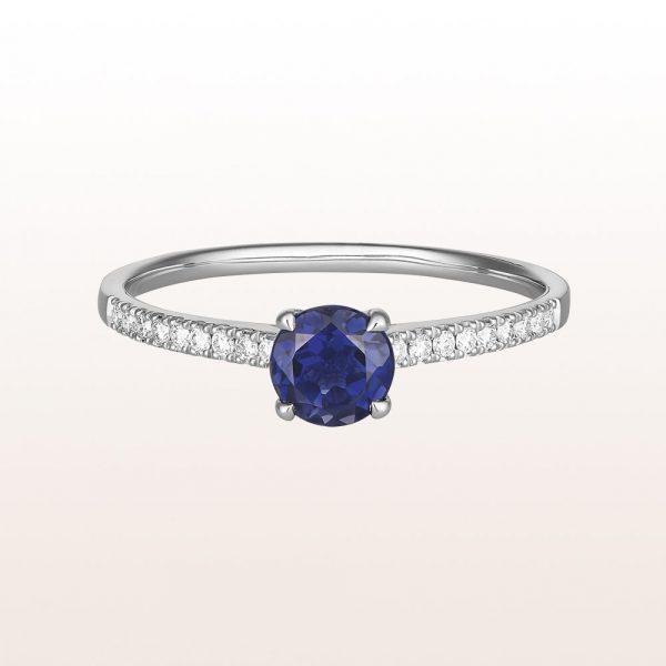 Ring mit Iolith 0,38ct und Brillanten 0,10ct in 18kt Weißgold