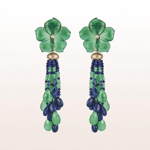 Ohrgehänge mit Grünachatblüten, Lapis Lazuli, Smaragd und Brillanten 0,07ct in 18kt Roségold
